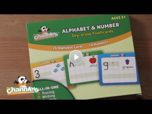 B500 Dry erase alphabet flash cards cover poster with play button